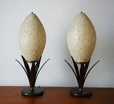 Mid Century Modern Majestic Wood Shell Crumbled Fiberglass Shade Pair Table Lamp