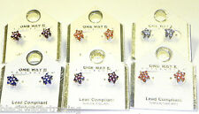 Wholesale Lot  6 New Carded Star Shaped Earrings with Crystal Rhinestone Accents