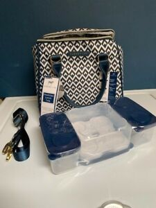 Dabney Lee Insulated Lunch Tote Bag for Hot Cold Food; Navy Blue/White (NEW)