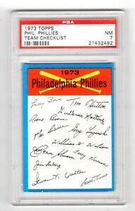 1973 TOPPS TEAM CHECKLIST PHILLIES - PSA 7 NM - Only 3 higher - No 9s or 10s