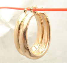 "1.5"" Bellezza Large All Shiny Oval Style Hoop Earrings Bronze Rose Pink Color"