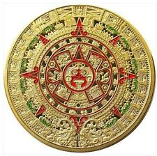 Mayan Aztec Prophecy Calendar Coin Colourised Commemorative Collectors Coin