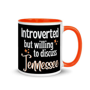 Introverted But Willing To Discuss Tennessee Mug with Orange Handle/Inside