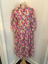Vintage 80's Laura Ashley Great Britain Floral Yellow Peony Dress Sz 10 Euc