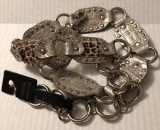 Kathy Van Zealand Silver Animal Print Belt Metal Circles One Size