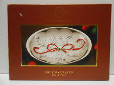 Lenox Holiday Carved Metal Small Tray 10 Inches