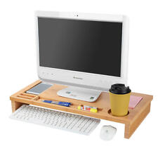 Moustache® Bamboo Monitor Stand with Storage For Home Office Work Living Room