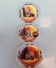 Creil Montereau France Set of 6 Winery Genre Scene Plate Octagonal