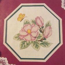 Pink Magnolia counted cross stitch magazine pattern, fabric & floss lot
