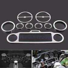 9pcs Chrome Stereo Accent Speedometer Speaker Trim Ring Set For Harley Davidson