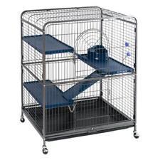 Black Small Pets Rat Ferret Cage Metal Ladders Wheels Bottle Chinchillas 3 Tier