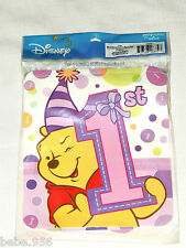 WINNIE THE POOH 1st  BIRTHDAY   GIRL   1-HAPPY-B BANNER  PARTY SUPPLIES