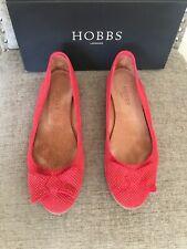Hobbs Florrie Bow Ballerina Suede Red Popyy White Size 39/uk 6