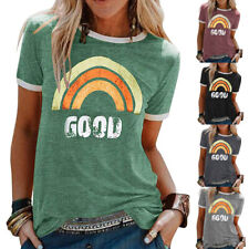 Womens Rainbow Tee Blouse Ladies Pullover Summer Casual Basic Shirt Holiday Tops