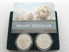 2005 British Piedfort Nelson Trafalgar £5 Five Pound Silver Proof 2 Coin Box Coa
