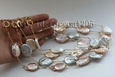 4pieces wholesale Natural Baroque Reborn keshi Pearl Necklace Chain 14k #f2306!