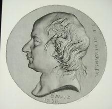 Antique print Pierre-Jean de Béranger médaillon d'après David d'Angers c1850