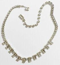 Bijou Vintage collier ancien coul argent rivière cristal diamant swarovski *3248