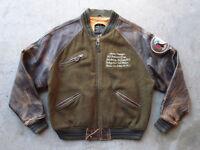 Vintage 80s Avirex G-2 Leather Wool Tour Jacket Size M Souvenir Navy USN Flight