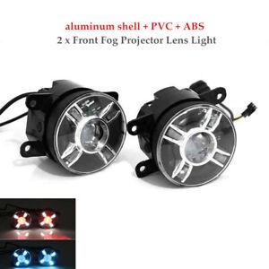 1 Pair Auto Car LED Projector Lens Spot Fog Lamps Adjustable Light w/Turn Signal