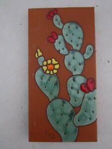 "CARLY QUINN DESIGNS Custom Hand Glazed Fired Ceramic Tile Cactus 6""x3"" Southwest"