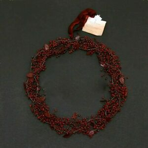 POTTERY BARN RED GLASS PEPPER BERRY WREATH  New
