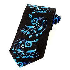 Treble Note Score Mens Neck Tie Music Black Necktie Fun Musician Gift New