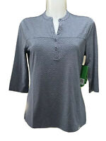 Women's Skechers GoGolf Size M Polo Button Front Pullover Blue Grey 3/4 Sleeve