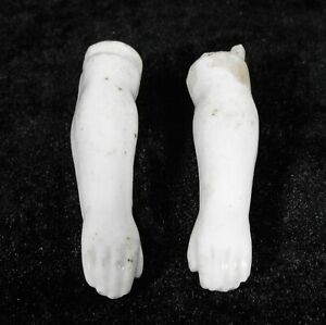 """1800s bisque doll arms for early china leather cloth body doll 2-3/4"""" glazed"""