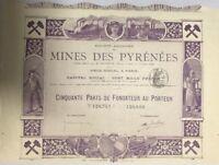 Sehr dekorativ u.RAR: Societe Anonyme des Mines des Pyrenees 1898 -lila-