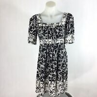 BCBGMaxAzria Dress Size Small Black Cream Floral Dress Short Sleeve Square Neck