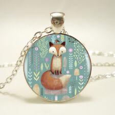 UK CUTE FOX PENDANT NECKLACE Animal Kawaii Jewellery Gift Idea Womens Girls Kids