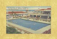 FL Sarasota 1931-50s vintage postcard LIDO BEACH SWIMMING POOL & CASINO FLORIDA