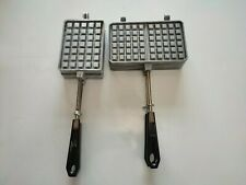 More details for two waffle / jaffle irons. toasted sandwich makers. vintage. french.