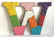 "Large Antique Tin Ceiling Wrapped 16"" Letter 'W' Patchwork Metal Multi Color B82"