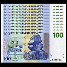 Lot 10 PCS, Zimbabwe 100 Dollars, 2007, P-69, banknotes, UNC