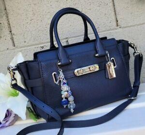Coach 87295 Swagger 27 leather midnight navy purse satchel bag crossbody handbag