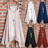 Women Fashion Sleeveless Summer Shoulder Strap Lace Bordered Tank Top Vest Dress