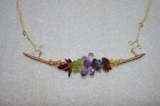 14K Gf 47 Carats Custom Quality Handcrafted Multi Natural Gemstone Necklace