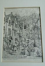 Mounted signed etching - Clovelly High Street.