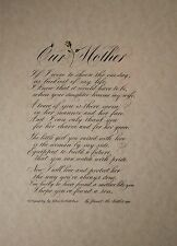 """Our Mother (from son-in-law)"" Print.  Original Calligraphy by John DeCollibus"