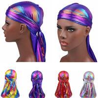 Fashion Women Men Silky Durag Head Wrap Cap Summer Bandannas Rag Hat TEUS