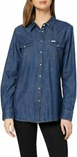 Wrangler Western Popper Long Sleeve Denim Blouse Shirt Indigo Blue S BNWT