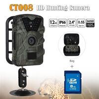 8GB 12MP Hunting Camera Trail Scouting Wildlife IR 24 LEDs+Bag CT008 Waterproof