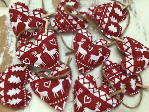 Christmas Bunting Nordic Reindeer Handmade 1m 10 Filled Hearts Shabby Chic