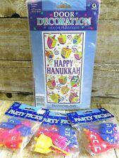 Happy Hanukkah Door Decoration 34 x 65 w Lot 3 Pkgs Dreidel Party Cupcake Picks