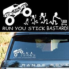 Car White 4x4 RUN YOU STICK BASTARD Rear Trunk/Windshield Decor Vinyl Sticker
