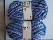 Patons Shetland Chunky wool blend yarn, Blue Jeans varieg, lot of 2 (148 yds ea)