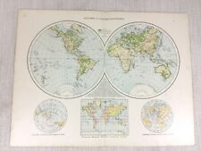 1898 Antique World Map Western Eastern Hemisphere Old 19th Century Original