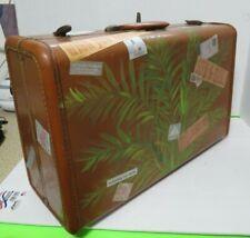 "Vintage Samsonite Hard Luggage Suit Case W/ Travel Stickers & Key 21""L x 13""W"